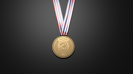 conquering: Third place bronze medal on black background.
