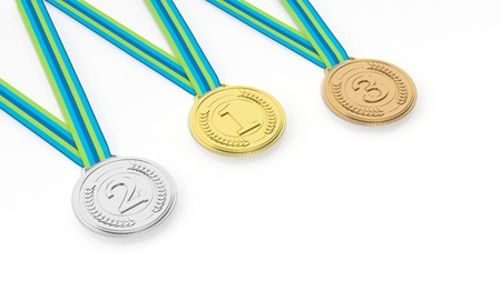 and the third: First,second and third place medals on white background Stock Photo