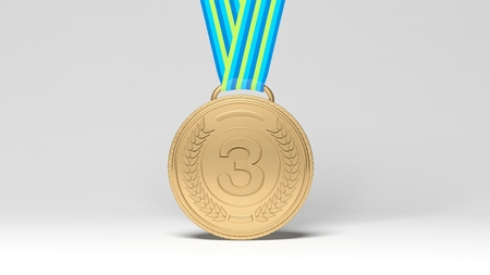 conquering: Close-up of third place medal on white background