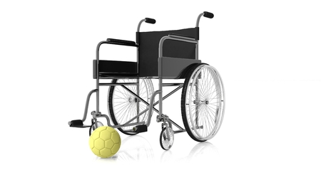 waterpolo: Wheelchair with yellow waterpolo ball on white background.Isolated