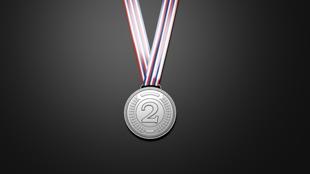silver medal: Close-up of 3D rendering silver medal on black background