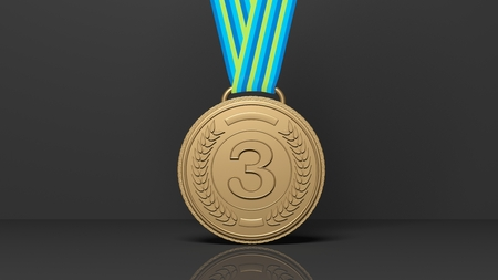 medal: Close-up of 3D third place medal on black background.Isolated