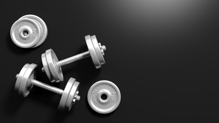 adjustable dumbbell: 3D rendering of adjustable metallic dumbbells, on black background with copy-space Stock Photo