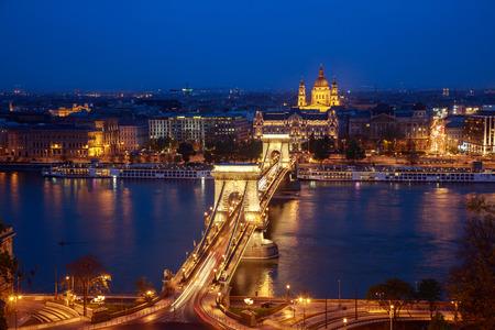 Cain Bridge illuminated at night, Budapest Hungary.