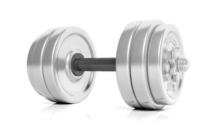 adjustable dumbbell: 3D rendering of adjustable metallic dumbbell, isolated on white background. Stock Photo