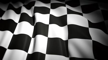 bandera carrera: Representación 3D de la bandera a cuadros ondulado, Fondo del primer Foto de archivo