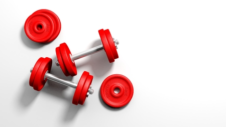 adjustable dumbbell: 3D rendering of adjustable metallic red dumbbells, on white background with copy-space