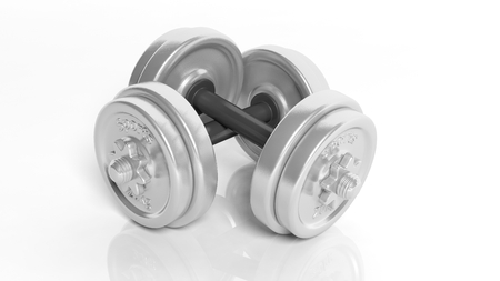 3D rendering of adjustable metallic dumbbells, isolated on white background.