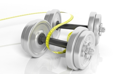 adjustable dumbbell: 3D rendering of adjustable metallic dumbbells with measuring tape, isolated on white background.