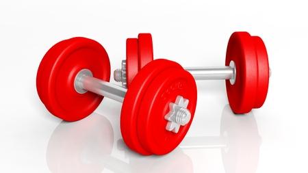 adjustable dumbbell: 3D rendering of adjustable metallic red dumbbells, on white background
