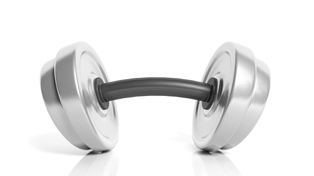 adjustable dumbbell: 3D rendering of adjustable metallic dumbbell with a bend, isolated on white background.
