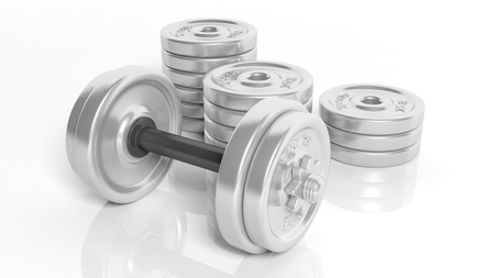 adjustable dumbbell: 3D rendering of adjustable metallic dumbbell and weight plates stacks, isolated on white background.