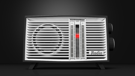 transitor: transistor de radio antigua, en la representaci�n Background.3d negro