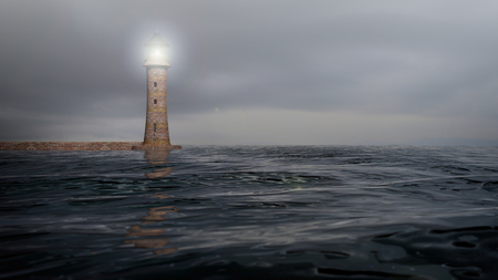 beam: 3D rendering of a lighthouse and sea waters with cloudy sky, seascape Stock Photo