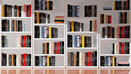 books library: Wall bookcase full of books, 3d rendering