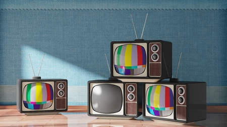 tv sets: Antique TV sets on wooden floor, home interior. 3D rendering Stock Photo