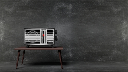 transistor: Antique radio transistor on table with blackboard background. 3D rendering
