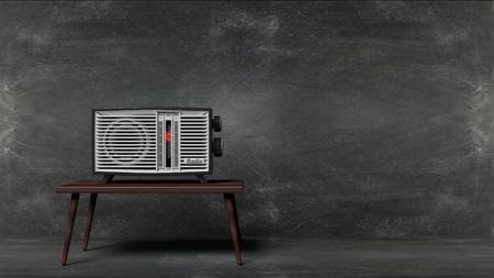 transistor: transistor de radio antigua en la tabla con fondo de la pizarra. representaci�n 3D