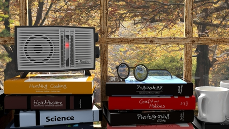 transistor: transistor de radio antigua en la pila de libros con la naturaleza fuera de la ventana. representaci�n 3D