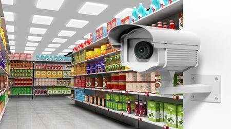 3D rendering of surveillance camera in supermarket. Stok Fotoğraf