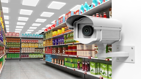 merchandise: 3D rendering of surveillance camera in supermarket. Stock Photo