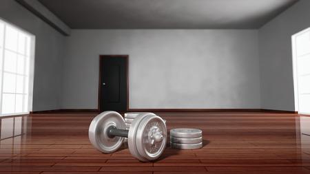 adjustable dumbbell: 3D rendering of adjustable metallic dumbbells on wooden floor of empty room