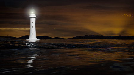 beam: 3D rendering of a lighthouse and dark sea waters in dusk, seascape