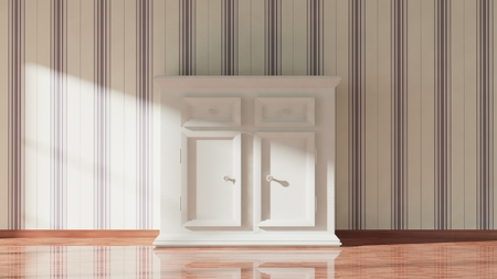 commode: 3D rendering of white wooden cupboard, home interior