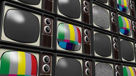 tv panel: Antique TV sets background. 3D rendering