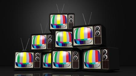 Antique téléviseurs avec des barres de couleur sur l'écran, sur fond noir. rendu 3D Banque d'images
