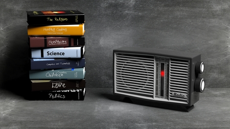 transistor: Antique radio transistor and stack of books with blackboard background. 3D rendering Stock Photo