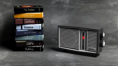 transistor: transistor de radio antigua y la pila de libros con el fondo de la pizarra. representaci�n 3D Foto de archivo