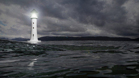 stormy waters: 3D rendering of a lighthouse and sea waters on stormy day, seascape