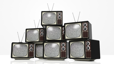 tv sets: Antique TV sets with noise on screen, isolated on white background. 3D rendering