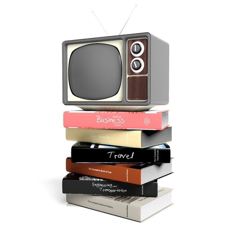 tomes: Antique TV set and books, isolated on white background. 3D rendering