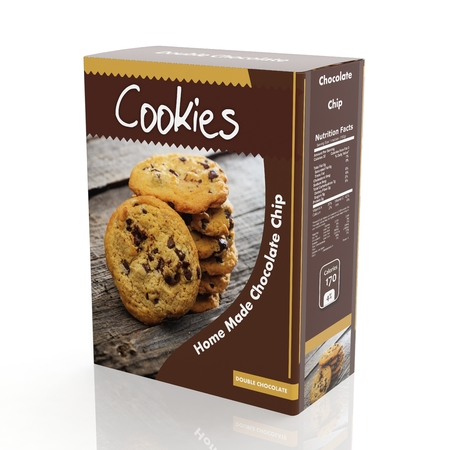 3D rendering of chocolate Cookies paper packaging, isolated on white background.
