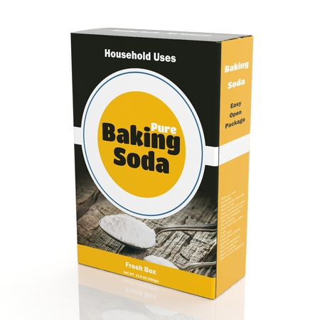 3D rendering of Baking Soda paper packaging, isolated on white background. Archivio Fotografico