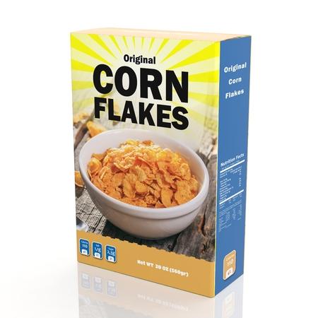 3D-weergave van Cornflakes papierverpakking, geïsoleerd op een witte achtergrond.