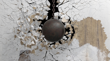 Metallic rusty wrecking ball on chain shattering  an old wall. 3D rendering Archivio Fotografico