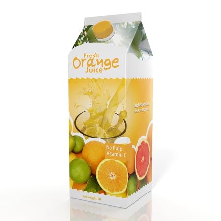 3D rendering of  Orange Juice paper packaging, isolated on white background. Foto de archivo