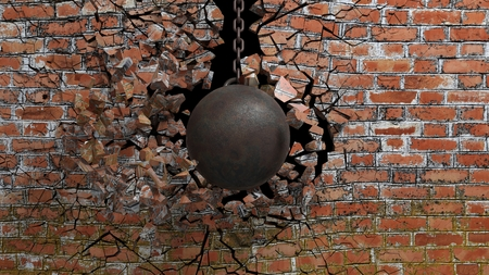 Metallic rusty wrecking ball on chain shattering an old brick wall. 3D rendering Stock Photo - 60061306