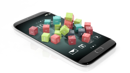 3D rendering of cubes with domain names, on smartphones screen, isolated on white.