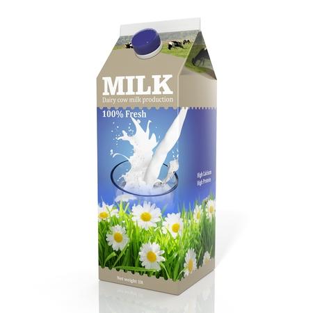 envase de leche: Representación 3D de papel de embalaje de la leche, aislado en fondo blanco. Foto de archivo