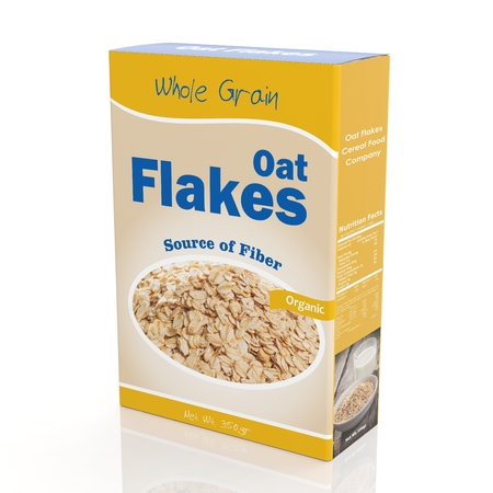 cereal box: 3D rendering of Oat Flakes paper packaging, isolated on white background. Stock Photo