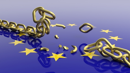 View of breaking golden chain above european flag
