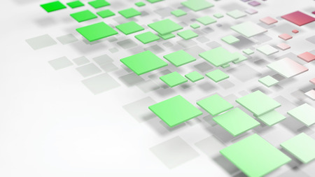 green backgrounds: Abstract geometric green cubes casting shadow on white background Stock Photo