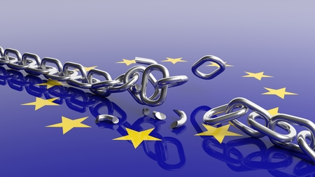 silver reflection: 3D rendering of EU flag under unchained silver chain