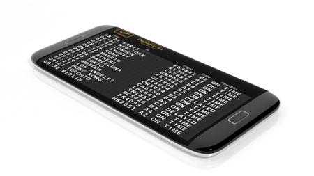 departures: 3D rendering of departures schedule on smartphone screen.Isolated Stock Photo