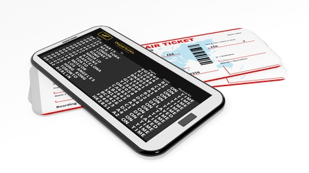 departures: Boarding tickets and cell with departures timetable.Isolated Stock Photo