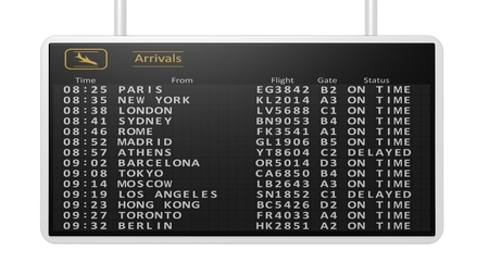black board: 3D rendering of airport digital arrivals timetable.Isolated